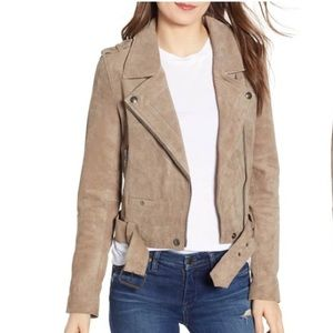Blank NYC Suede Moto Jacket French Taupe